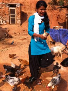 During AVP break, Sitha feeds goats & fowl