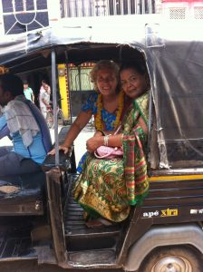 Minga with Friend Dorrin in tuk-tuk